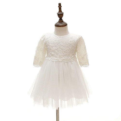 Amazon.com: gelvs Newborn Baby Girl Round Neck Long Sleeves Christening Dress Embroidery Flower Baptism Formal Gown Bonnet: Clothing