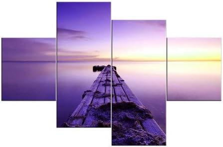 Felicidad y como lienzo, premontada imagen sobre madera-bastidor 4 piezas Art-Nr. 441100072 LILA lago y puente MODERN STYLE diseño instalado. Más barato que al óleo Póster con marco no necesita más pruebas
