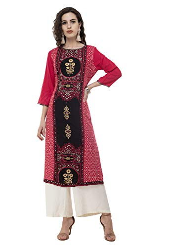Work Kurta - Sabhyata Pink Women Designer Straight Gold Foil Work 3/4 Sleeves Round Neck Kurta Kurti Top Tunic