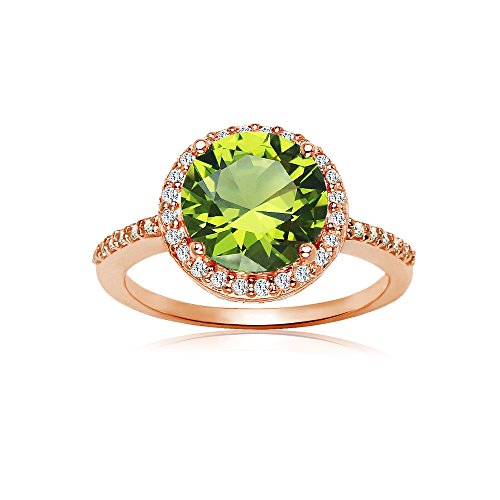 Rose Gold Flashed Silver Simulated Peridot and Cubic Zirconia Round Halo Ring, Size 9 ()
