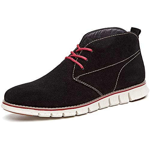 LAOKS Mens Suede Chukka Boot Genuine Leather Lace up Dress Shoes Oxford Black