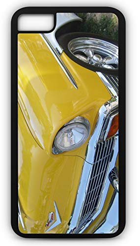 iPhone 8 Case Yellow 1956 Chevrolet Chevy Hot Rod Burning Rubber Customizable by TYD Designs in Black Rubber]()