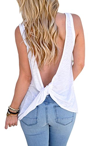 Feel Show Womens Backless Stretchy Tank Top Open Back Knotted Back T Shirt - Back White T-shirt