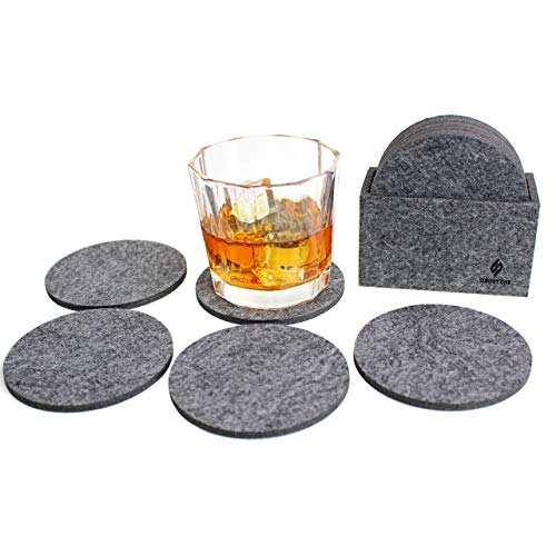 (Summit One Premium Felt Absorbent Coasters, Set of 8 (4 Inch Round, 5mm Thick) - Super Absorbent Coasters For Drinks - Includes Matching Felt Coaster Holder in Gift Box)