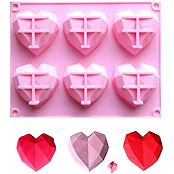 Fyuan Chocolate Silicone Dessert Mould for Mousses Ice Cream Chiffon Cakes Pan Baking Cupcake Mold, 6 Holes Diamond Heart, Pink, Pack of 1