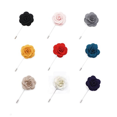 INNEE Handcrafted Lapel Flower 9pcs Boutonniere Pins in Clear Top Tin Box (Style 4)