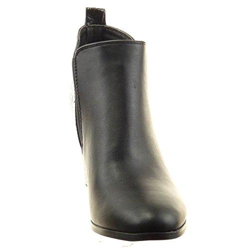 Sopily - damen Mode Schuhe Stiefeletten Chelsea Boots Schlangenhaut - Schwarz