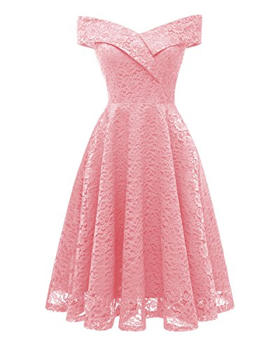 Off Neck Formal Lace Shoulder Women's 1 Boat Swing Floral Vintage Dress Aibwet Pink Cocktail Dresses qHwx8AXRx4