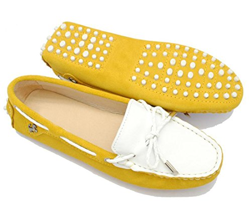 LL STUDIO Womens Casual Bowknot Yellow White Suede/Leather Driving Walking Penny Loafers Boat Shoes 7 M US -  LL STUDIO-YIBU9602-Yellow White-Suede38