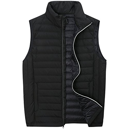 The Plus Project Men's Plus Size Lightweight Down Puffer Vest with Chest Pocket 3X-Large Black (Fit Athletic Project Jacket)