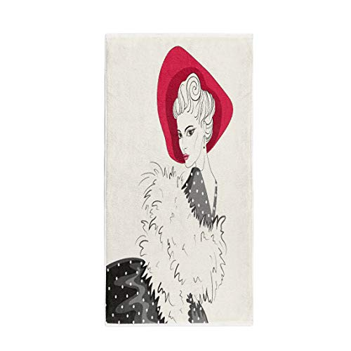 Semtomn 14 x 30 Inches Bath Towel Attractive Woman in The Red Bonnet Beauty Black Cape Soft Absorbent Travel Guest Decor Hand Towels Washcloth for Bathroom(One Side Printing) -