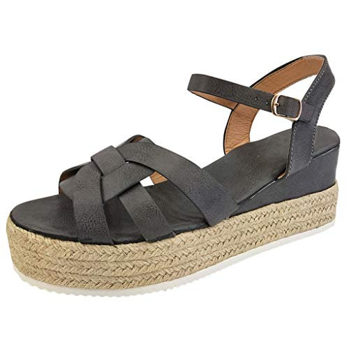 LONGDAY ⭐ Shoes Women's Ankle Strap Flat Espadrilles Summer Platforms Sandals - Criss Cross Casual Shoes Open Toe Gray