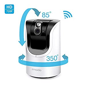Zmodo 1.0 Megapixel 1280 x 720 Pan & Tilt Smart Wireless IP Network Security Camera Easy Remote Access Two-way Audio