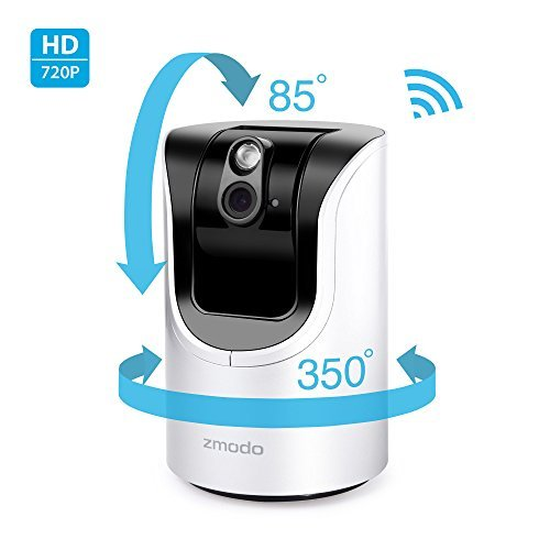 Zmodo 1.0 Megapixel 1280 x 720 Pan & Tilt Smart Wireless IP Network Security Camera Easy Remote Access Two-way Audio - Cloud Service Available