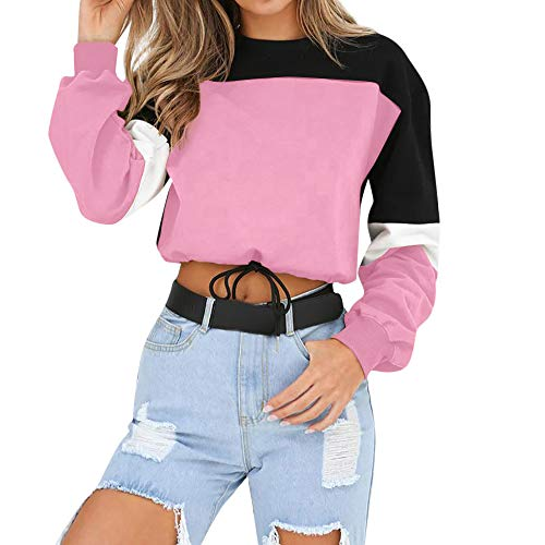 - Women Color Block Splice Pullover Vintage Long Sleeve Sweatshirt Crop Top Blouse (L, B-Pink)