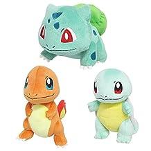 Sanei Set of 3 Pokemon PP17 Bulbasaur, PP18 Charmander, PP19 Squirtle Stuffed Plush