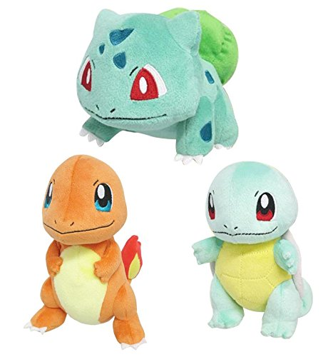 Set of 3 Sanei Pokemon PP17 Bulbasaur, PP18 Charmander, PP19 Squirtle Stuffed Plush by Sanei