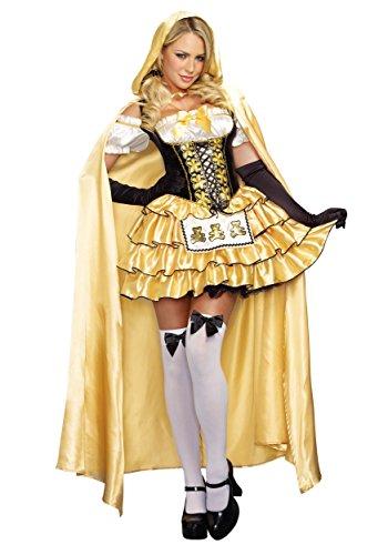 Dreamgirl Women's Goldilocks Fairytale Costume, Gold/Black, Medium -