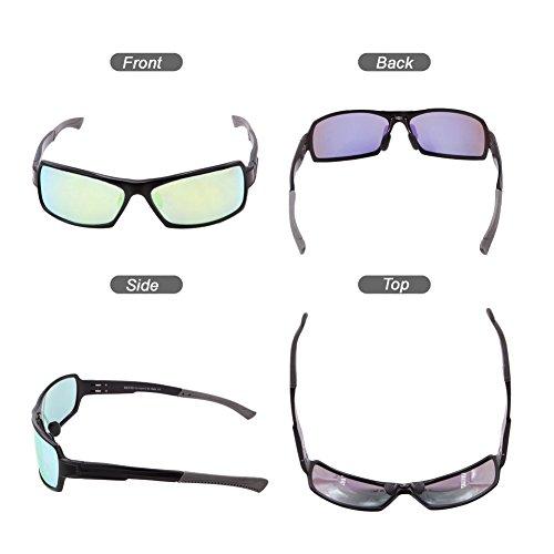 Negro REVO Duco Sol para Amarillo Wrap de 9019 Frame Polarized Rectangular Metal Mujer Gafas Hombre Unbreakable wqx6rOwS