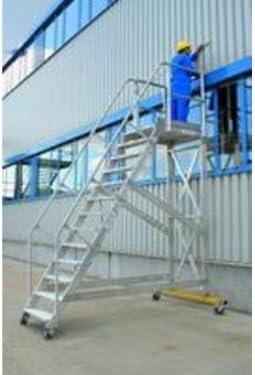De aluminio Plataforma de escaleras, 45 °, nivel de ruedas de transporte, Ancho: 600 mm, profundidad: 240 mm 7 peldaños: Amazon.es: Bricolaje y herramientas