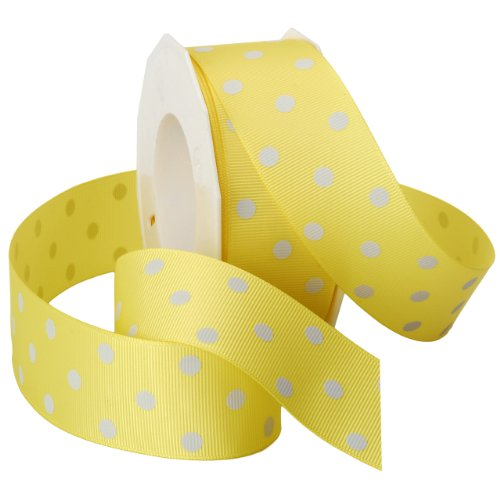 Morex Grosgrain Dot Ribbon, 1-1/2-Inch by 20-Yard Spool, Lemon with White Dots