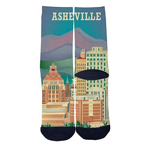 Eletina lee Eletina kgirt Men S Women S Custom Asheville North Carolina Skyline Travel Poster Socks 3D Print Novel Creative Casual Crew Socks -