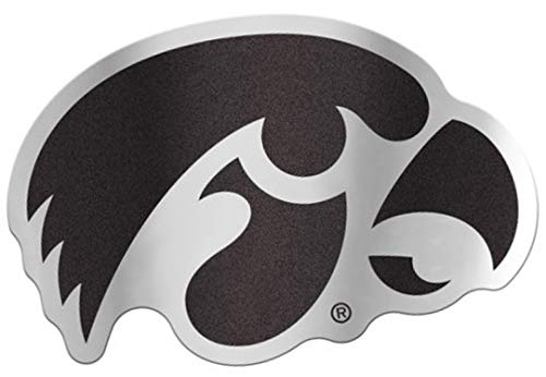 - University of Iowa Hawkeyes Auto Badge Decal, Hard Thin Plastic, 4.9x3.25 inches