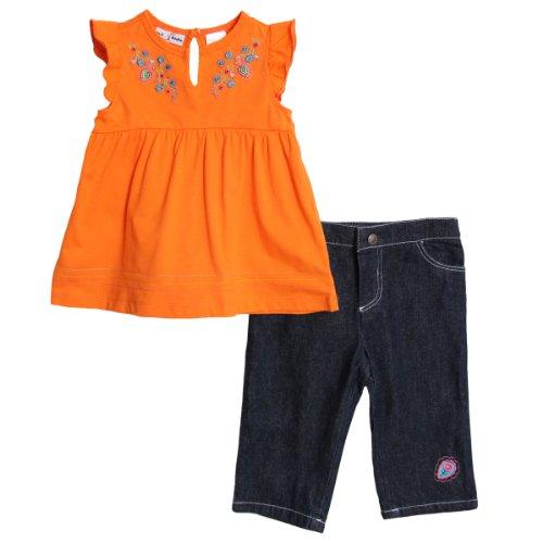 BT Kids Baby Girls' 2 Piece Orange Summer Top Dark Denim Jean Capri Pants
