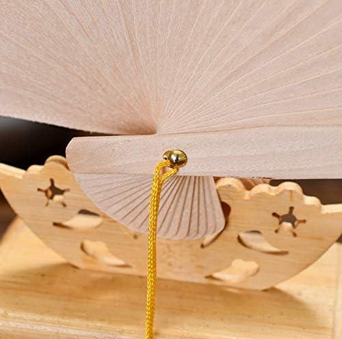 2 pezzi di ventilatore a pale di legno di sandalo ventilatore antico vento hollow mestiere pieghevole regalo ventilatore G