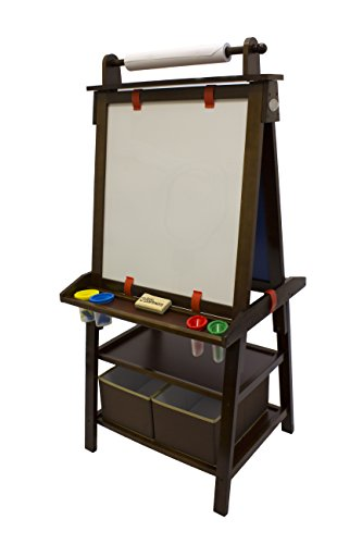 (Little Partners 2-Sided A-Frame Art Easel with Chalk Board, Magnetic Dry Erase, Storage, Paper Feed and Accessories for Toddlers, Espresso)