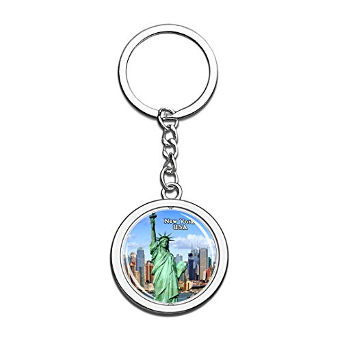 USA United States Keychain Statue of Liberty New York Key Chain 3D Crystal Spinning Round Stainless Steel Keychains Travel City Souvenirs Key Chain Ring -