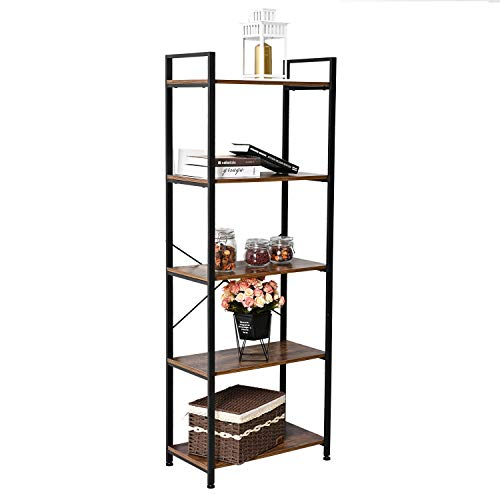 IRONCK Bookshelf, 5-Tier Ladder Shelf 110lbs/shelf Vintage Industrial Style Bookcase for Home Decor, Office Decor ()