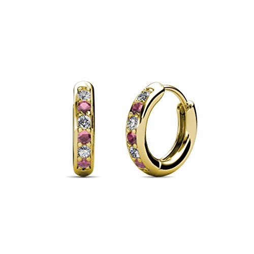 Petite Rhodolite Garnet and Diamond (SI2-I1, G-H) Huggies Hoop Earrings 0.25 Carat tw in 14K Yellow (0.25 Ct Tw Hoop)