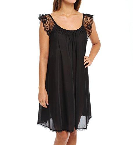 Amanda Rich Lace Cap Sleeve Knee Length Nightgown (106) XL/Black Amanda Knee Length Nightgown