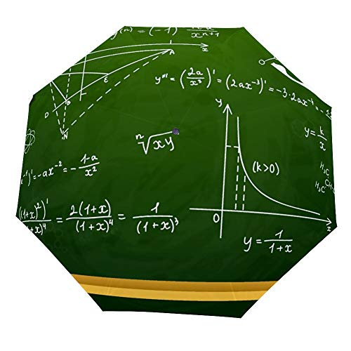 SARA NELL Reverse Inverted Windproof Mathematical Equations And Formulas Chipboard Umbrella - Upside Down Umbrellas with C-Shaped Handle for Women and Men - Double Layer Inside Out Folding -
