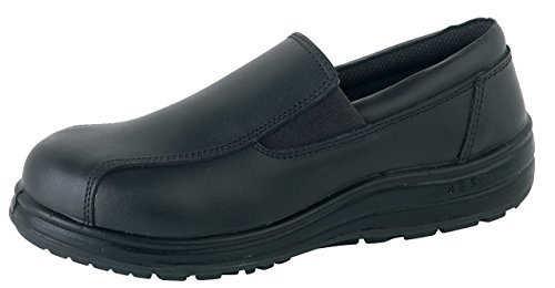 S&B Women's ABS 133P Leather Water Resistant Slip-On Safety Shoes With Steel Toe Caps US Size 7 Black by Delta (Image #1)