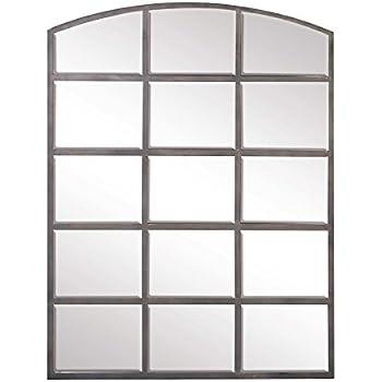 Amazon Com Deco 79 Large Black Iron Window Pane Mirror