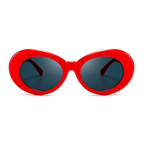 Armear Unisex Mod Style Oval Sunglasses Red for Women Men Fashion Oversized Retro 80S Plastic Eyewear UV400