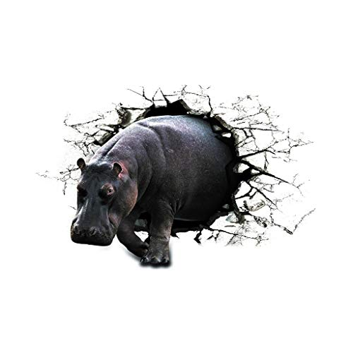 Dakaly Animal PVC Wall Room Hippo Wallpaper Living Decoration Stickers Sticker 3D