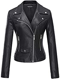Women's Faux Leather Moto Biker Short Coat Jacket Black