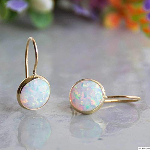 (14k Solid Yellow Gold White Opal 8mm Gemstone Dangle Earrings, Dainty Opal Gemstones Earrings, Bridal Handmade Wedding Jewelry Gift for Brides, Graduation Gift)