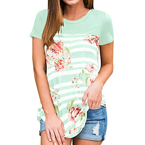 Ballad Womens Summer Striped Floral Print Tops Short Sleeve Casual T-Shirt Loose Tunic Blouse Green (Tom Brown Tracker Knife Sheath For Sale)
