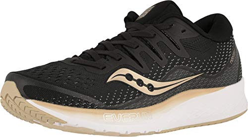 Saucony Women's Ride ISO 2 Running Shoe, Black/Gold, 8 M ()
