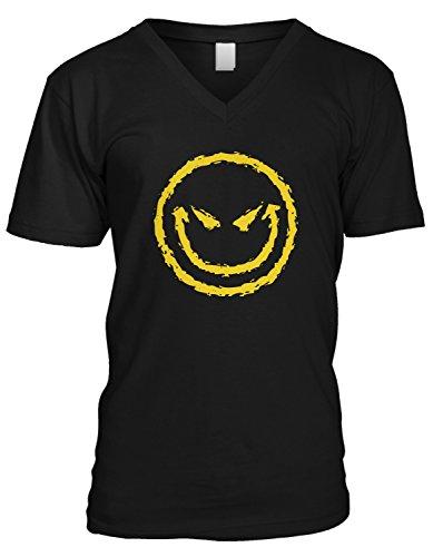 Amdesco Men's Evil Smile, Evil Smiley Face V-Neck T-Shirt, Black Small