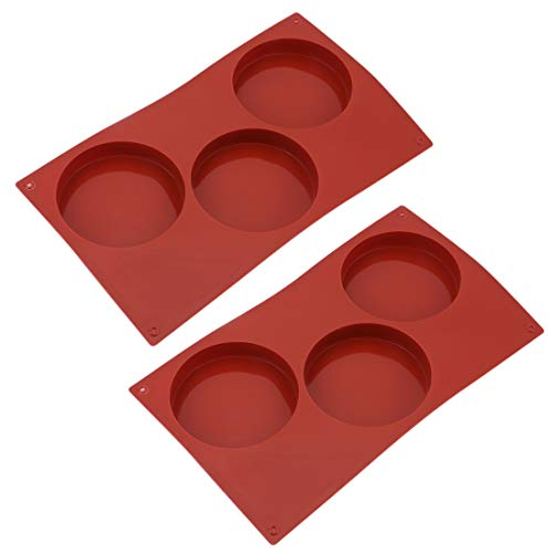 Tebery 3-Cavity Large Round Disc Candy Silicone Molds Pastry Bakeware for Baking, Soap Making, Epoxy Resin, Crafting Projects (2 -