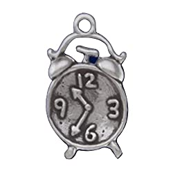 Sterling Silver 3D Alarm Clock With Bells On Top Charm