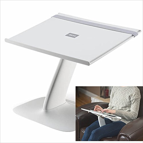 Portable Laptop Stand for Desk and Car. A Creative Space Saving Ergonomic Adjustable Laptop Computer Table, Support Holder, Riser, Rest, Or Tray (New White)