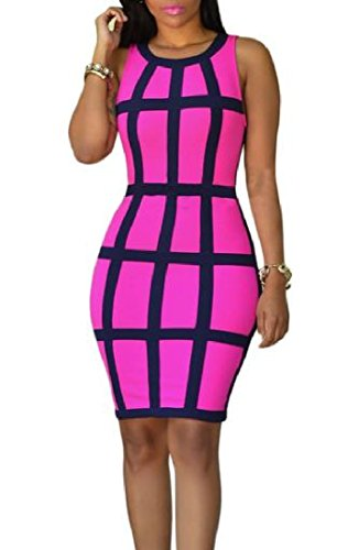 Club Hit Plaid As2 Color Coolred Dress Womens Round Neck Bodycon Sleeveless CxwRCTq84
