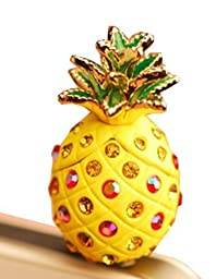 e-zone(TM)Bling Crystal Rhinestones 3.5mm Pineapple Pattern Cellphone Charms Anti-Dust Dustproof Earphone Audio Headphone Jack Plug Stopper for iPhone 4 4S Samsung Galaxy S2 S3 Note I9220 HTC Sony Nokia Motorola LG Lenovo