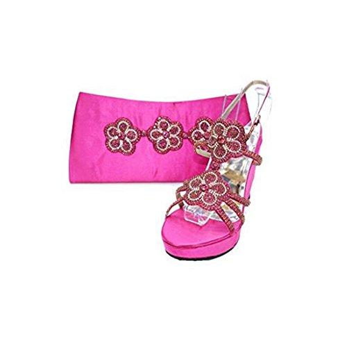 Women Ladies Evening Diamante Wedge Platform Sandals Wedding Partywear Shoes Pink